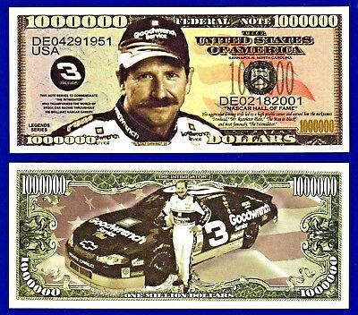 1-Dale Earnhardt Jr Money A3 Dollar Bill  Nascar  Stockcar  Racing Novelty