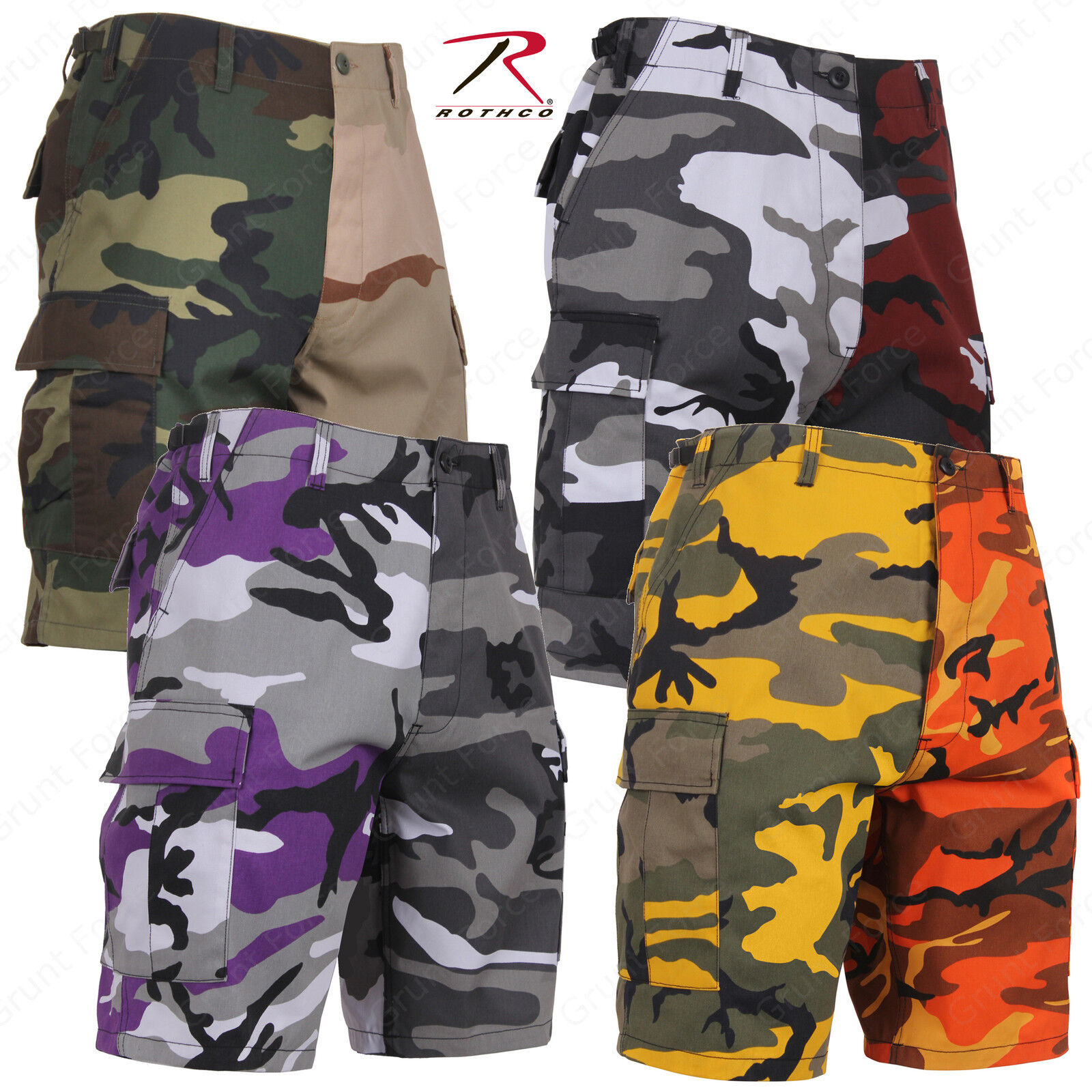redhco Two-Tone Camo Shorts - Military Style Tactical B.D.U. Shorts