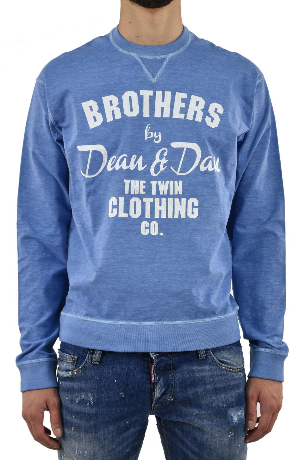Dsquared2 Men's Sweatshirt Blue Logo Cotton Graphic Print - Mod....