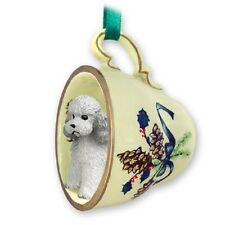 Poodle Gray with Sport Cut Teacup Green Ornament