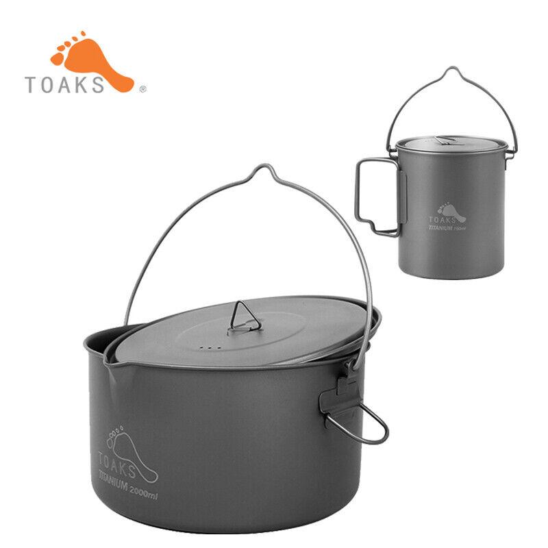 TOAKS  Outdoor Titanium Pot with Bail Handle Pot Camping Cookware 750-2000   very popular