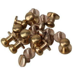 10pcs-Solid-Brass-Chicago-Screws-Leather-Craft-Round-Head-Nail-Rivets-9x8x9mm