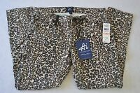 Ai American Idol Womens Festival Girl Cropped Cheetah Print Denim Size 28
