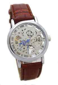 Skeleton Mechanical Hand Winding Party Wear Leather Strap wrist Watch For Men !