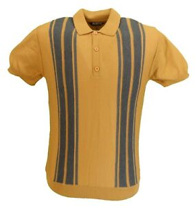 Relco Homme Moutarde Rétro Tricot Polo Shirts
