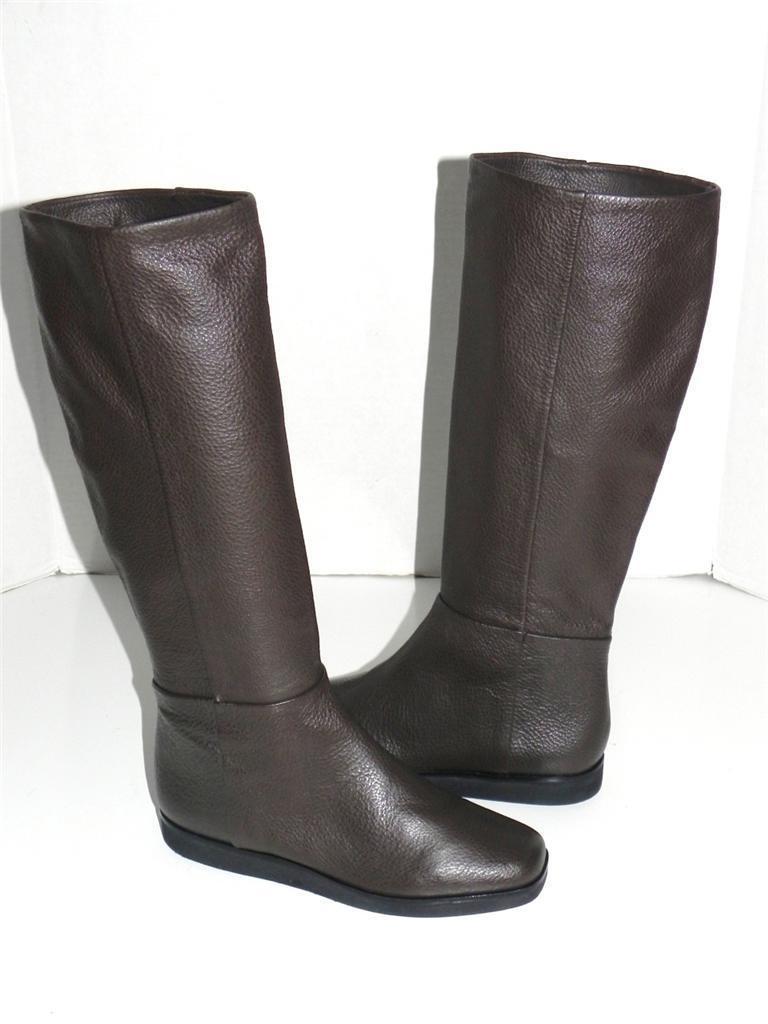 Donna Karan New York Chocolate Brown Pelle Wedge Knee High Stivali  690 Size 8