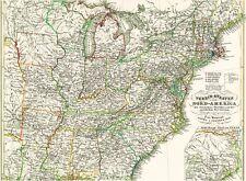 Echte 166 Jahre alte Landkarte USA Maine OHIO Idaho Kentucky Texas NEW YORK 1851