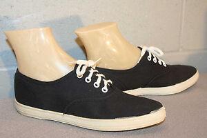 6-5-AA-NOS-Vtg-70s-BLACK-FUN-SHUS-TENNIS-GYM-SNEAKER-CANVAS-Pointed-Toe-SHOE