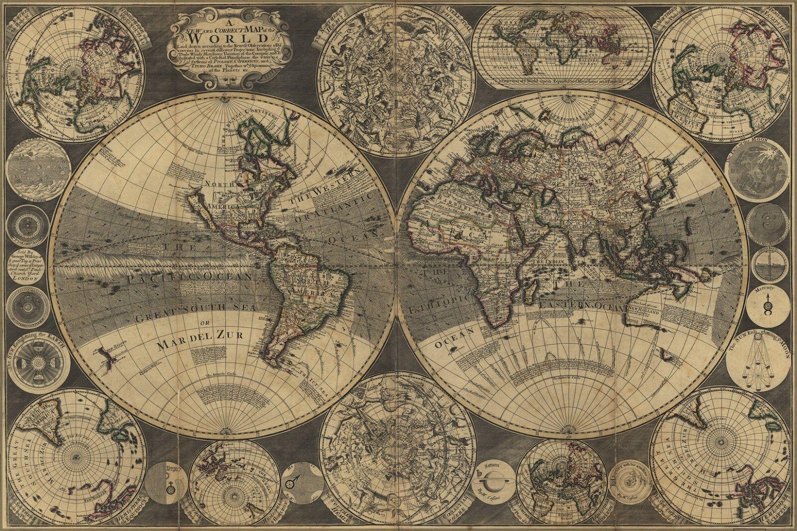 Plakat, Viele Größen; Neu und Korrigieren Weltkarte 1702