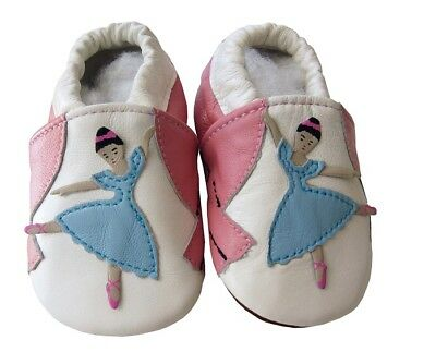 Baby Echtleder Puschen Lederpuschen Hausschuhe Gr L 21 22 ca 12-18Monate NEU