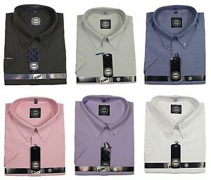 Mens-King-King-Size-KAM-Oxford-Casual-Formal-Short-Sleeve-Shirts-Gift-For-Him