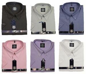 Para-Hombre-King-Size-Kam-Oxford-Informales-Formales-Camisas-Manga-Corta-en-Color-Negro-Gris