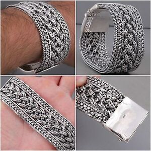 99502ba2a63a HEAVY TRIBAL WIDE WOVEN BRAIDED 925 STERLING SILVER MENS BRACELET ...
