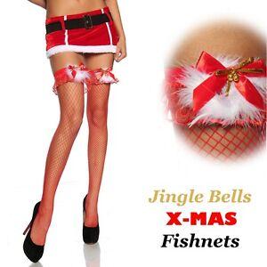 Santa Claus Christmas Costume Stockings Jingle Bells Thigh Highs W//Ruffle Top
