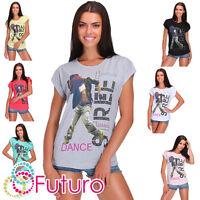 Womens Street Dance Print T-Shirt Short Sleeve Summer Casual Top Size 8-14 FB280
