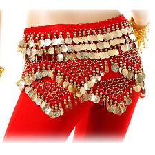 New Belly Dance Belt Velvet & 312 Gold Coins Hip Scarf Belt 12 Colors Wrap Skirt