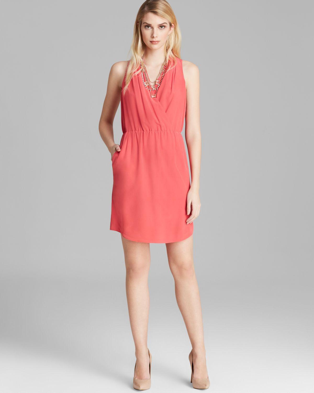 Rachel Roy Strawberry Twist 100% Silk Surplice Drapped Elegant Dress.NWT Sz.10