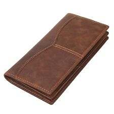 Men's Genuine Cow Leather Bifold Long Wallet Brown