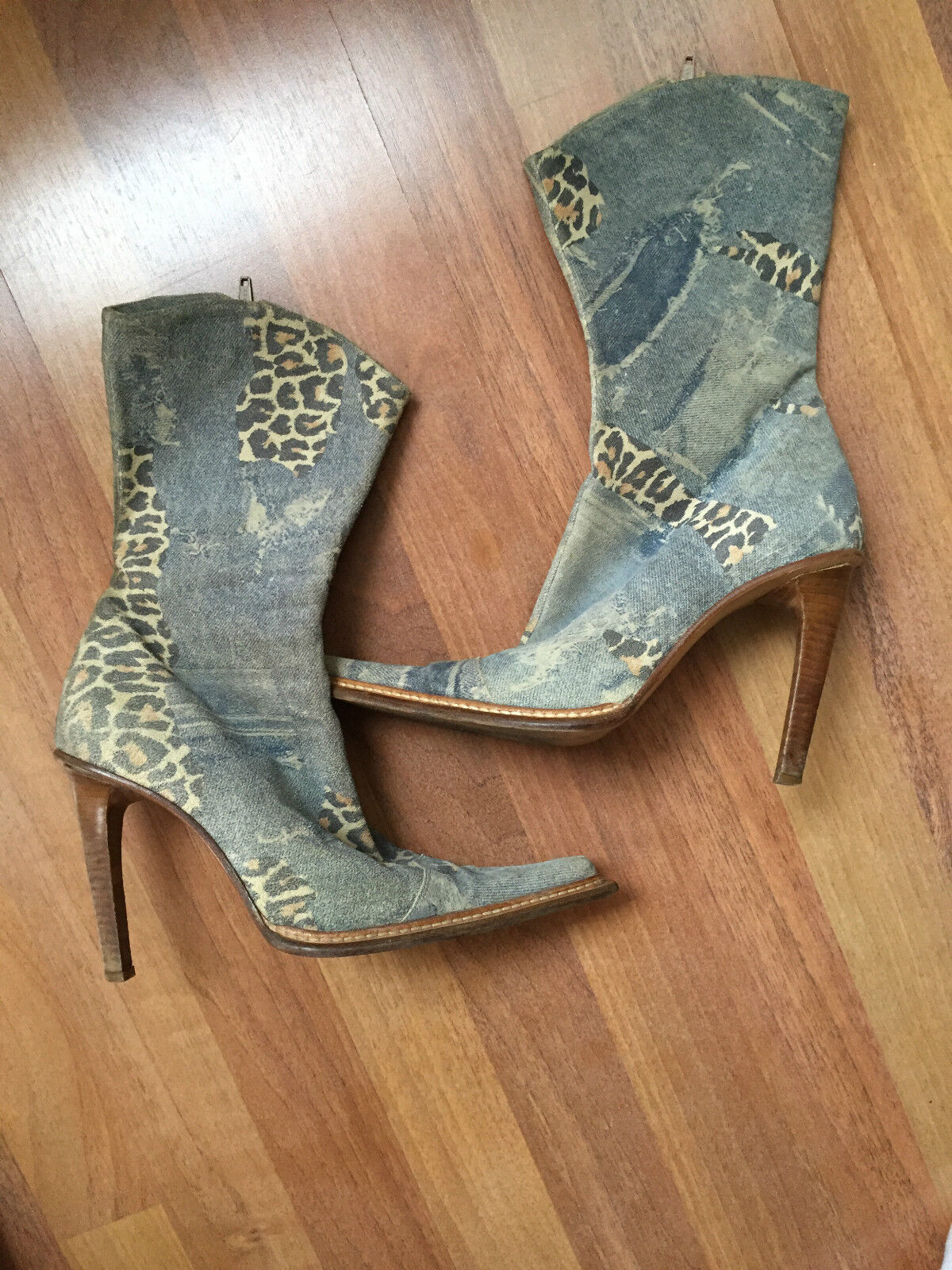 BROWNS Vero Cuoio Italian Made Jean With Leopard Print Boots Size 38 Retail  500
