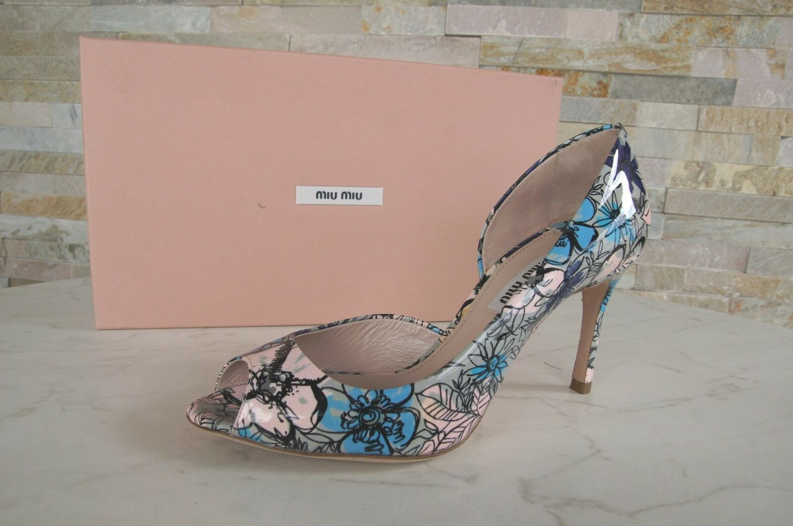 Miu Miu Prada Dimensione 36,5 Open  -Toes Peep -Toes Pumps scarpe Flowers New Precedentemente  sconto