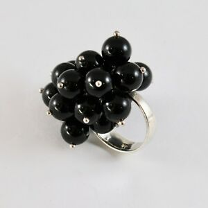 925-Silver-Ring-Cluster-with-Onyx-round-8-mm-Size-Adjustable