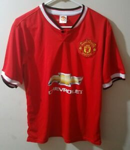 timeless design 129a9 fb3b1 Details about Red DiMaria Manchester United #7 Chevrolet Soccer Jersey  Youth XL