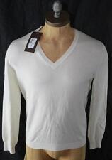 AUTH $825 Gucci Men White 100% Cashmere V Neck Sweater XXL