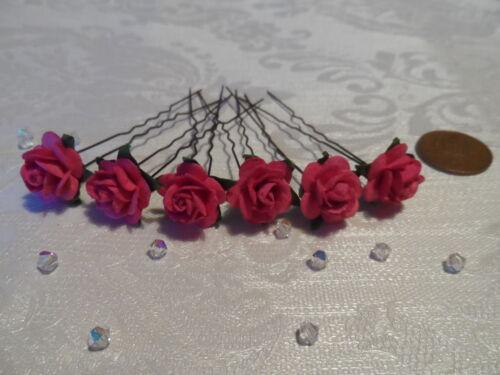 BRIDESMAID HAIR FLOWERS WEDDING BRIDAL FLOWER GIRL X 6 MANY COLOURS