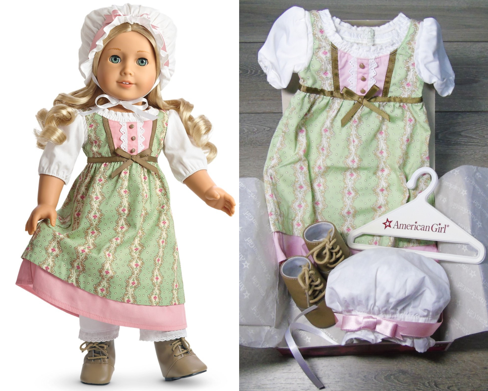American Girl 18   Puppe KLEIDUNG Caroline Arbeit Kleid Outfit Stiefel Kappe