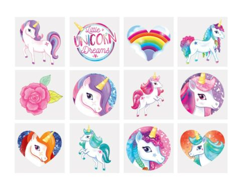 Unicorn Party Bag Fillers Tattoos//Crayons//Boxes//Cello Cones//Puzzles//Pencils