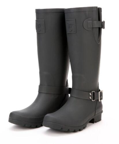 Evercreatures Boots Ladies Buckle Triumph Biker Wellington Uk 3 8 Charcoal Zip d00qrX