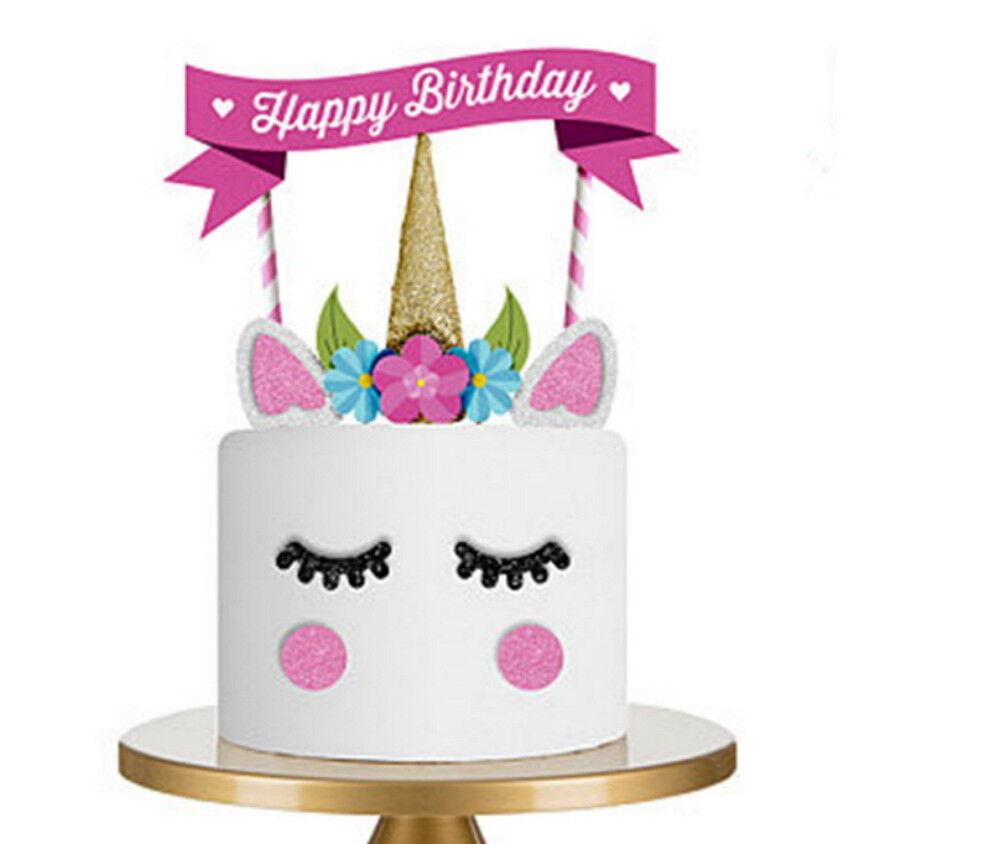 Einhorn Unicorn Tortenstecker Happy Birthday Kuchentopper Kuchenstecker
