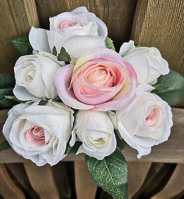 Rose Inglese Bianco Rosa Rose Struzzo Rose Fiori Seta Arte Fiori Rosa-