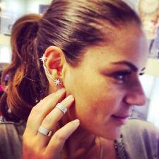 Fashion Womens Punk Gothic Snowflake Rhinestone Clip Ear Cuff Wrap Stud Earrings