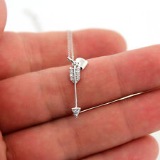 "Sterling Silver Arrow Heart Necklace with CZ stone adjustable 16"" to 18"" (N-56)"