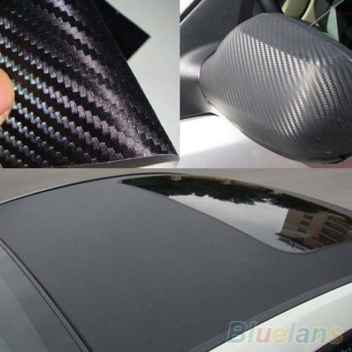 3D Cool Hot Carbon Fiber Black Vinyl Film Sheet Wrap Roll Auto Car Sticker Decor
