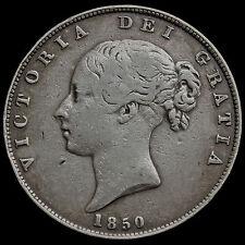1850 Queen Victoria Young Head Silver Half Crown, Scarce, AVF