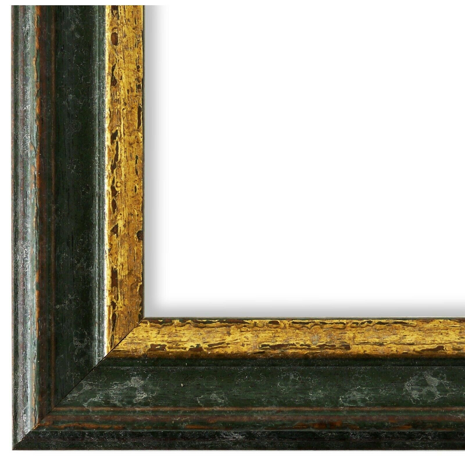 Bilderrahmen Rahmen Grün Gold Vintage Retro Holz Forli 3,7 - NEU alle Größen