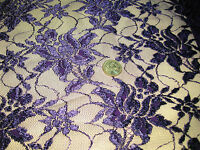 Purple Embroidered Floral Lace Fabric With Scalloped Edges 1yard By 48 Wide