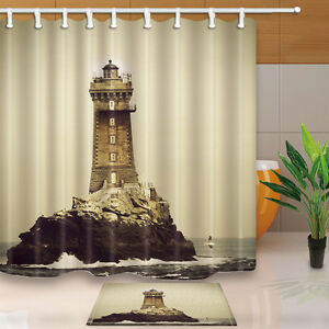 Image Is Loading Retro Lighthouse Shower Curtain Waterproof Polyester Fabric Amp