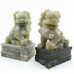 Hand Carved Pair Chinese Vintage Foo Dogs Soapstone  Bookends Figures Vintage
