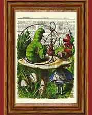 Alice in Wonderland Dictionary Art Print Book Picture Poster Caterpillar Smoke