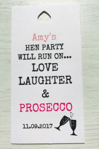 Personalised large Hen Party Thank You Tags // favour tag party tag Prosecco