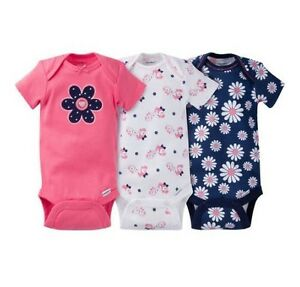 Gerber-Baby-Girl-3-Piece-Navy-Coral-Flowers-Onesies-Size-12M-BABY-CLOTHES-GIFT