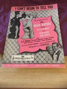 Acheter Pas Cher Vintage Sheet Music I Cant Commencer à Vous Dire-afficher Le Titre D'origine