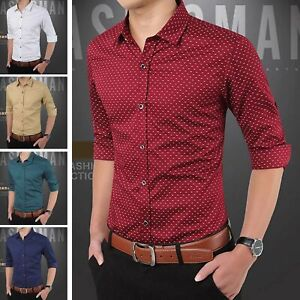 Fashion-Men-039-s-Slim-Fit-Long-Sleeve-Business-Work-Smart-Formal-Casual-Dress-Shirt