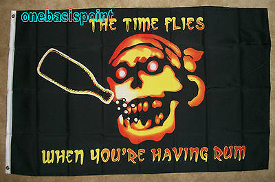 5/' x 3/' Pirate Flag Time Flies When You/'re Having Rum Skull /& Crossbones Banner