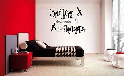 BROTHERS WHO PLAY TOGETHER STAY TOGETHER VINYL WALL DECAL BOYS STICKER ROOM