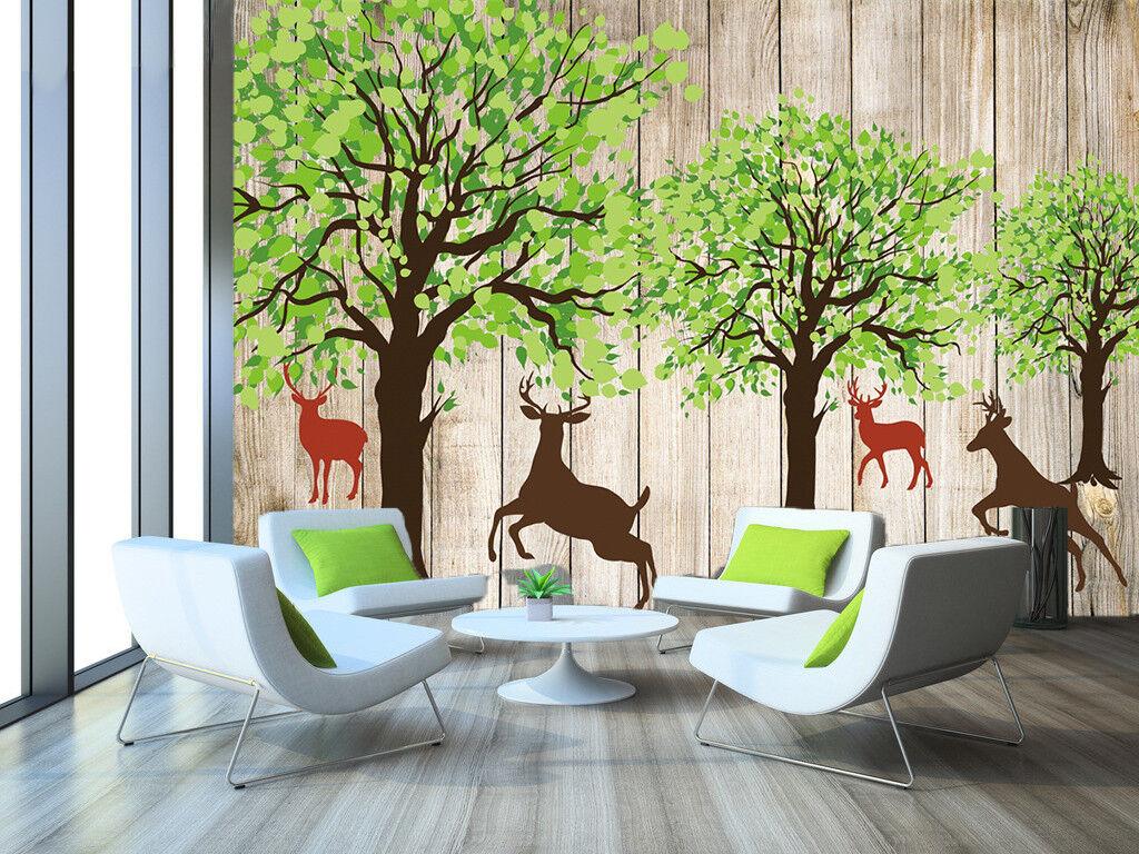 3D Deers Grün Trees 7 Wall Paper Murals Wall Print Wall Wallpaper Mural AU Kyra