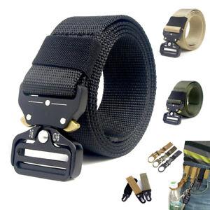 Per-Uomo-Nylon-Cintura-Fibbia-Altezza-Palestra-Strap-Vita-Militare-Regolabile